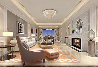 简欧风格的客厅3d模型