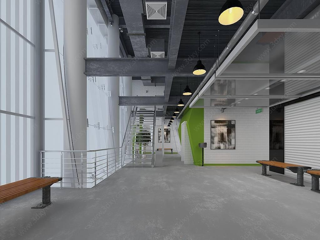 现代办公室空间过道空间