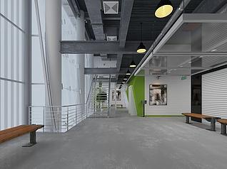 现代办公室空间过道空间工装模型