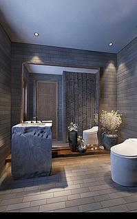 新中式卫生间家装模型