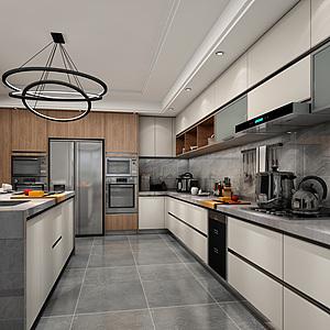 现代北欧厨房橱柜3D模型3d模型