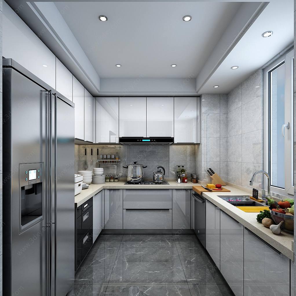 现代轻奢厨房橱柜3D