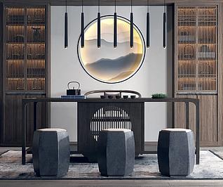 新中式茶桌椅吊灯组合家装模型