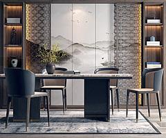 新中式餐桌椅書柜組合3D模型