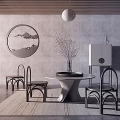 中式實木圓形餐桌椅組合3D模型