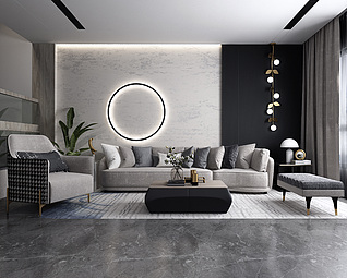 后现代沙发客厅3d模型