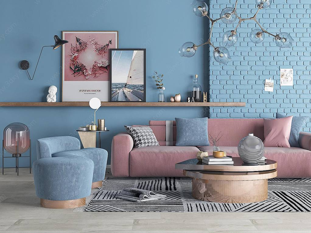 现代沙发茶几花瓶摆件客厅