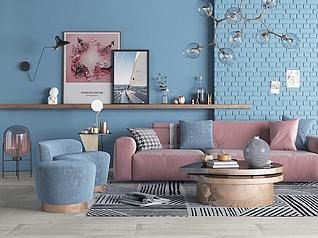 现代沙发茶?#23500;?#29942;摆件客厅3d模型