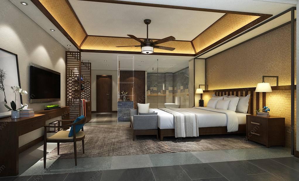 酒店客房主题套房现代卧室