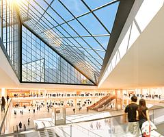 现代商场玻璃顶电动扶梯3D模型