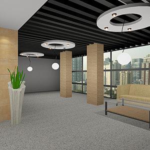 辦公空間沙發貼圖<font class='myIsRed'>筒燈</font>綠植整體模型