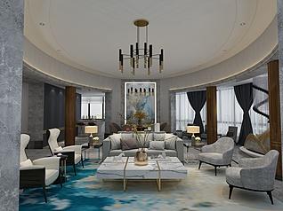 现代客厅饰品装饰家装模型