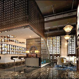 酒吧吧台酒灯光酒杯酒瓶工装模型