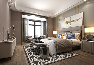 后现代卧室3d模型