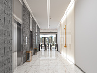 现代简约电梯间电梯厅3d模型