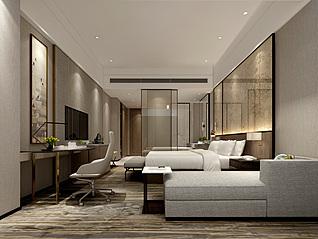酒店标间3d模型
