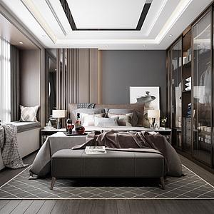 现代主人房3d模型