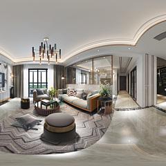 现代客厅吧台全景整体模型