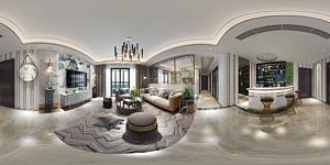 现代客厅吧台全景3d模型