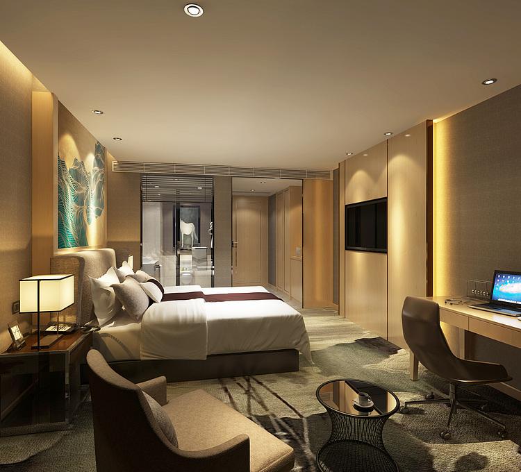 酒店客房现代卧室主题套房