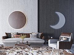现代轻奢简约沙发茶几组合3D模型