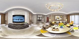 现代简约港式客厅餐厅玄关全景模型