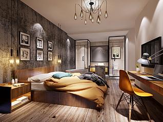 酒店?#22836;?#29616;代卧室主题套房3d模型