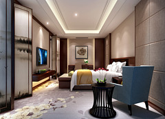 酒店客房现代卧室主题套房3D模型