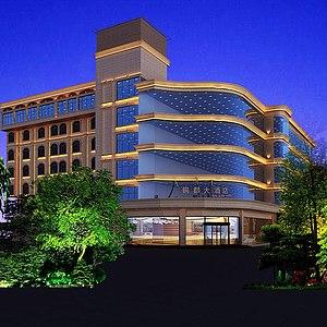 酒店建筑外观整体模型