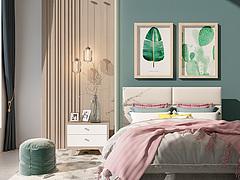 现代双人床床头柜组合3D模型