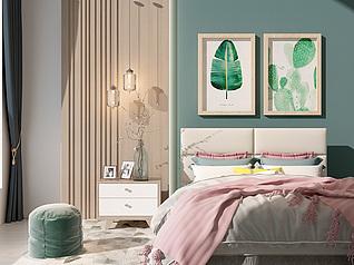 现代双人床床头柜组合家装模型