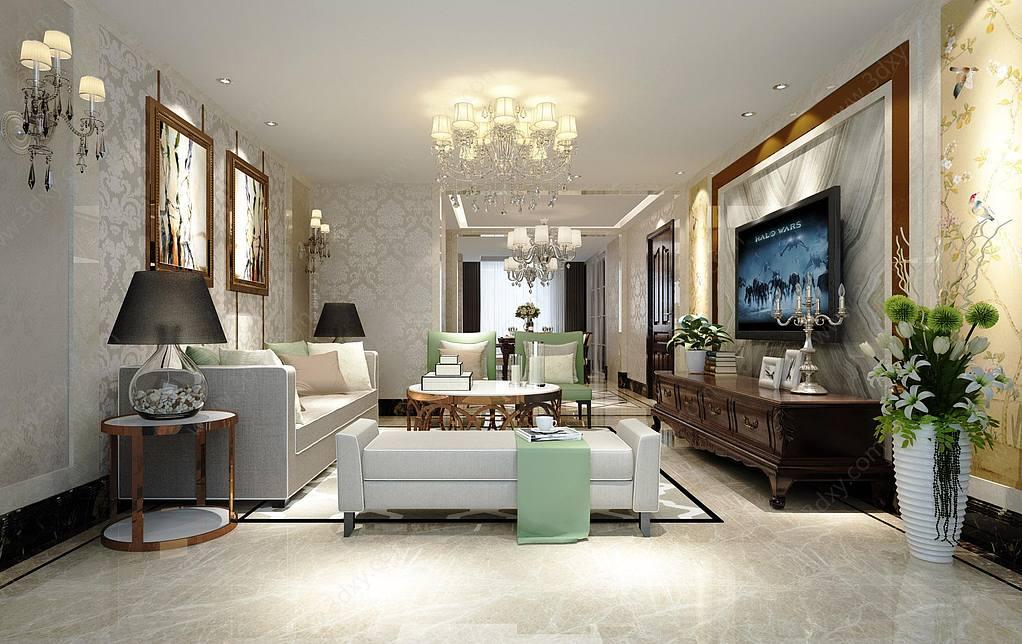 后現代的客廳3D模型