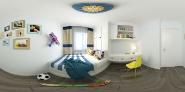 地中海风格卧室全景3d模型
