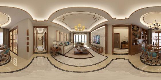 新中式客厅全景模型