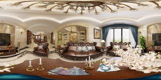 欧式客餐厅全景模型