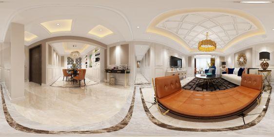 欧式客厅餐厅全景模型
