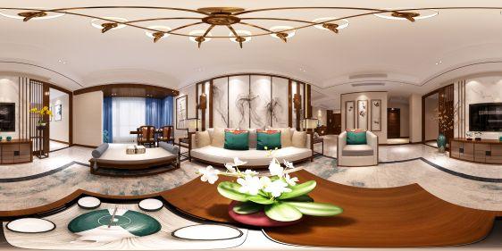 新中式客厅餐厅全景模型