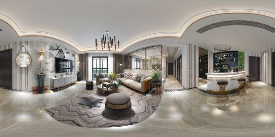 现代客厅吧台全景模型