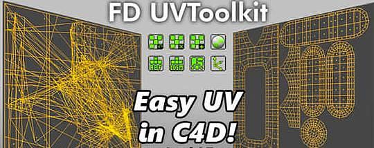 C4D插件-快速自動展UV貼圖插件 FD UVToolkit 1.0 For Cinema 4D