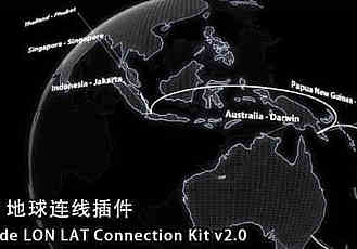 C4D地球定点连线插件 TGS Lon-Lat Connection Kit V3.0 For Cinema 4D R16-R19