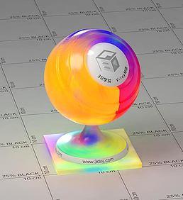 彩色半透明塑料vray材质