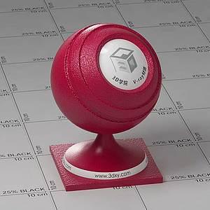 暗紅色皮革Vary材質球球