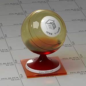 暗紅色玻璃Vary材質球