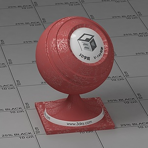紅色花紋墻布Vary材質球球