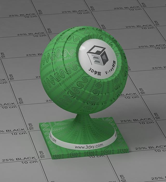 綠色花布vray材質球