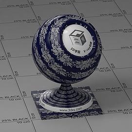 深蓝花布Vary材质球球