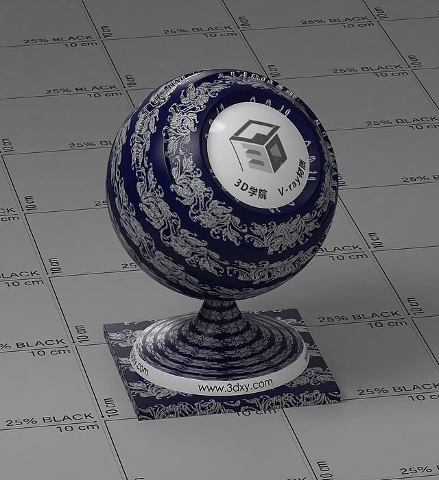 深藍花布vray材質球