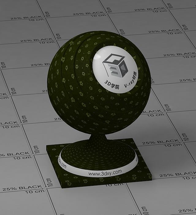 深綠色花布vray材質球