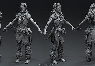 游戏《地平线:黎明时分》美术作品人物角色和机械兽概念设计
