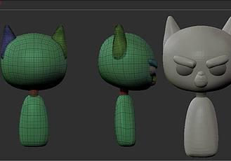 卡通角色《喵喵美國隊長》3D模型雕刻流程